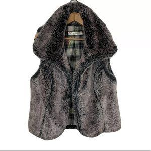 TRUE GRIT Faux Fur Vest Gray Size S Soft Cozy